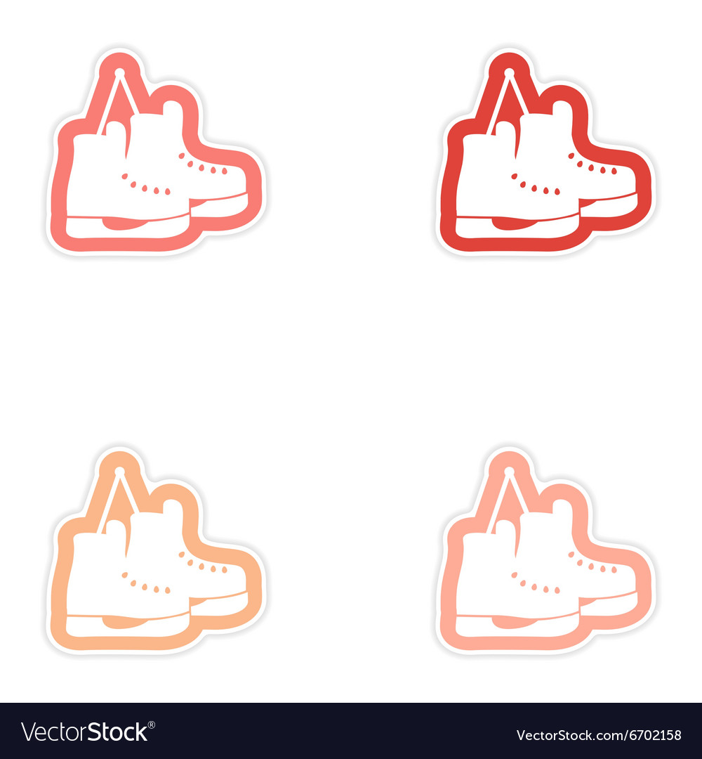 Set paper stickers on white background pair of
