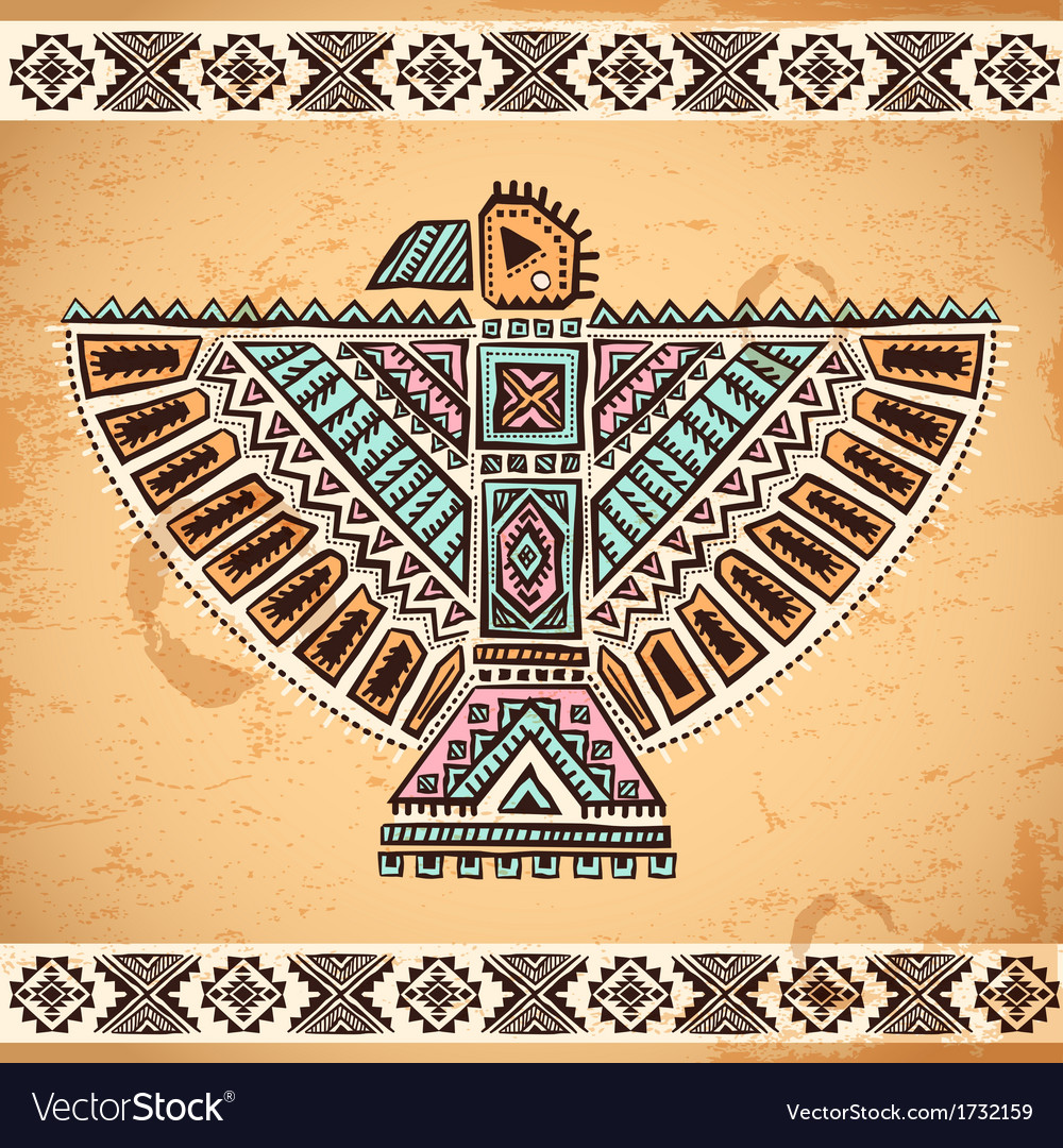 Tribal native American eagle symbols vector image
