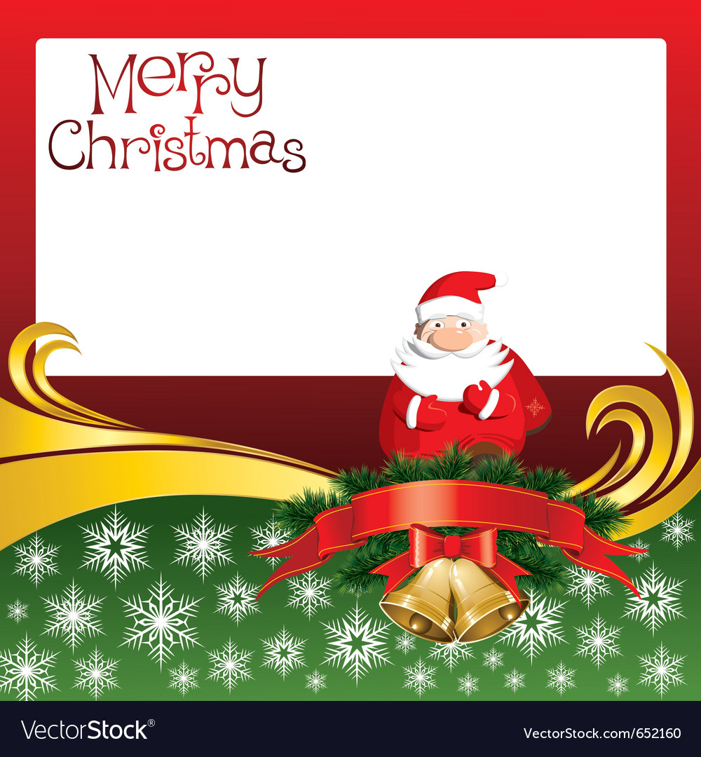 2012 christmas card with jingle bells and santa cl vector image