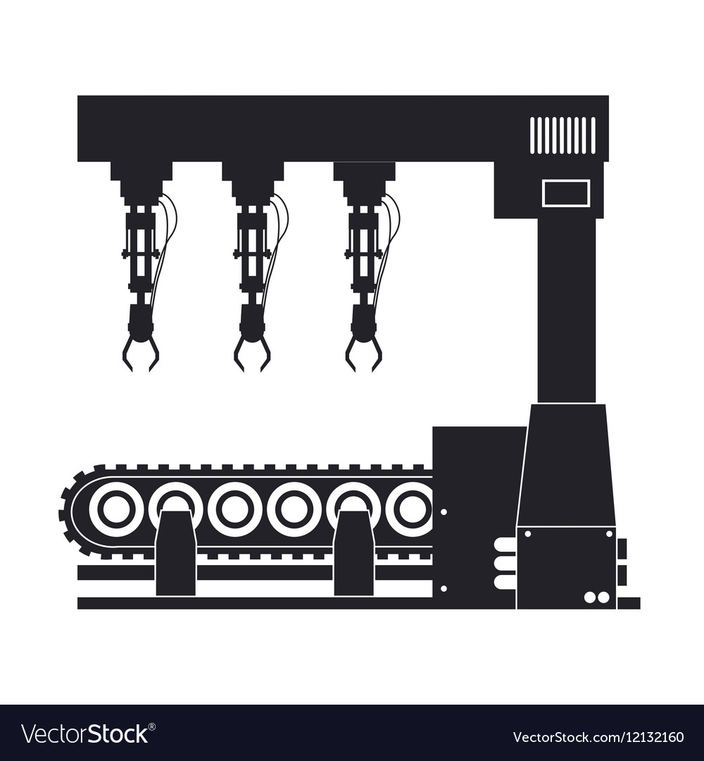 Silhouette robotic production line machinery vector image