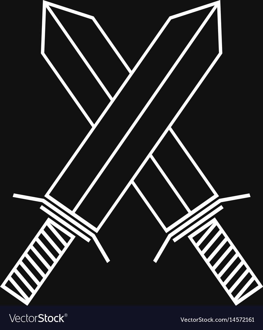 Crossed swords linear icon vector image