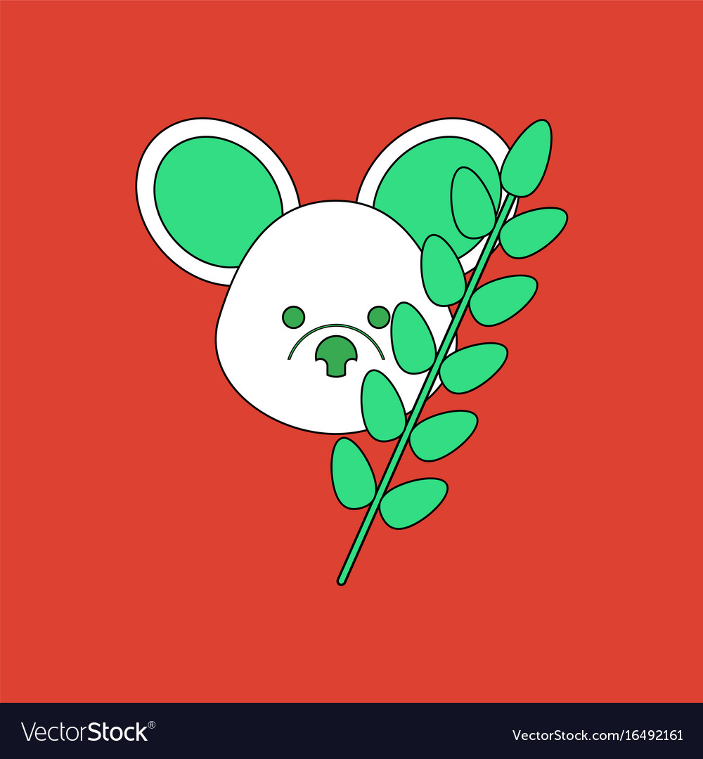 Flat icon design collection koala and plant