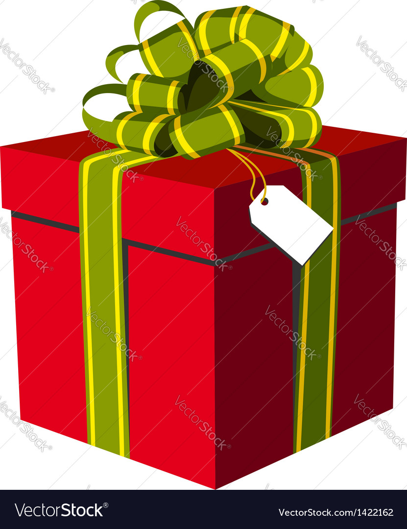 Red gift box with green and golden ribbon vector image