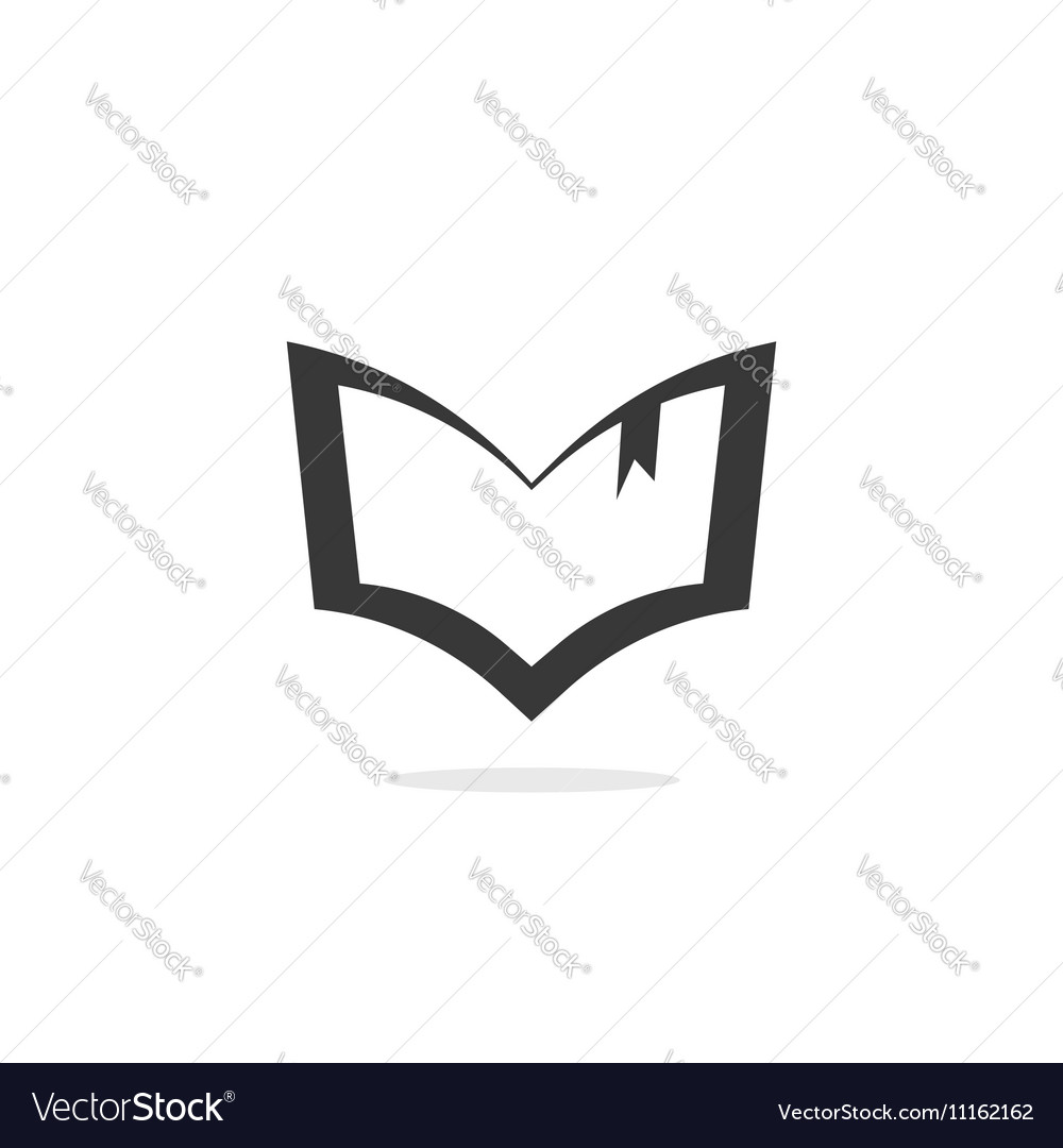 Book silhouette logo outline open textbook vector image