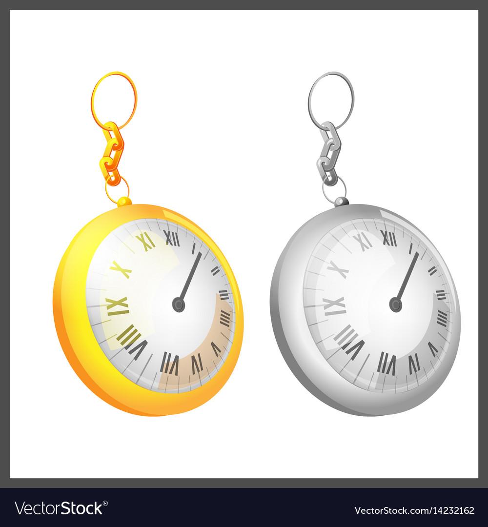 Gold silver couple pocket clock vector image