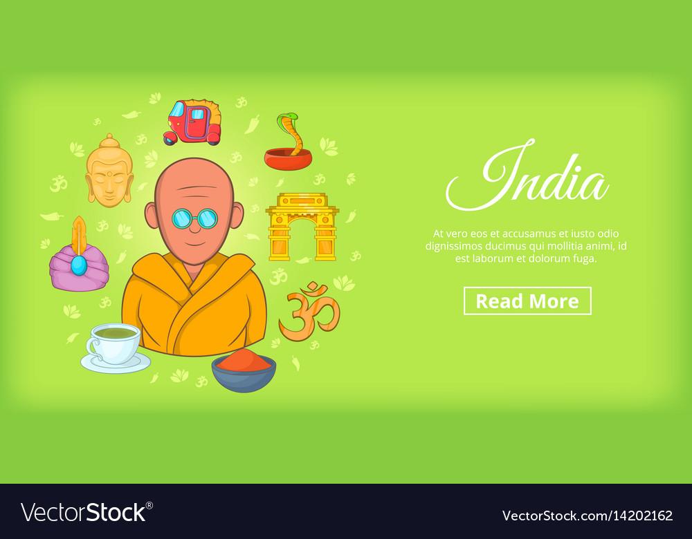 India travel horizontal banner cartoon style vector image