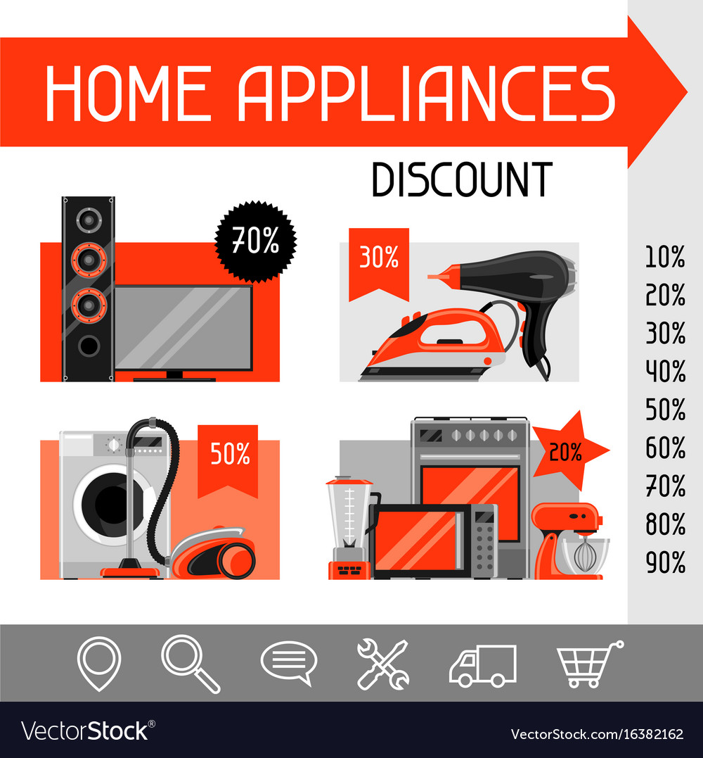 Website template with home appliances household vector image