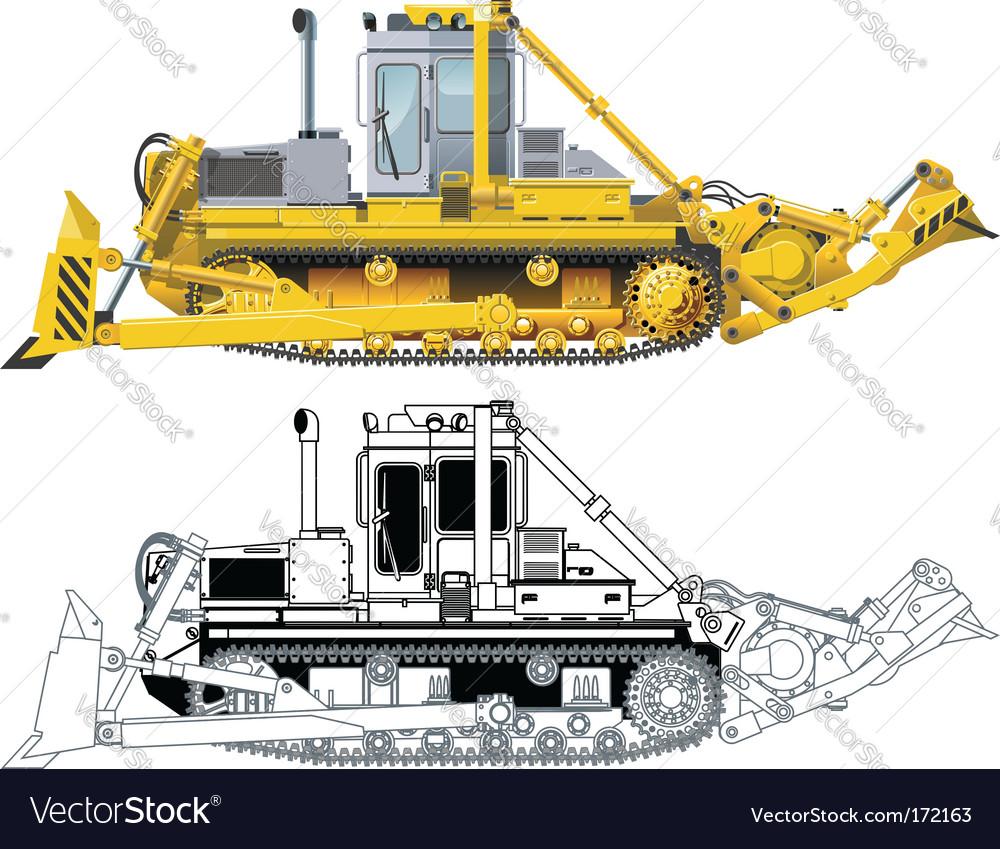 Bulldozer vector image