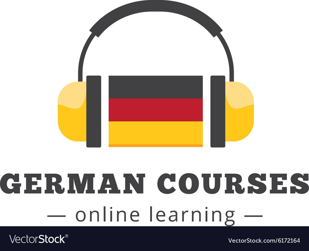German courses logo concept with flag and vector image
