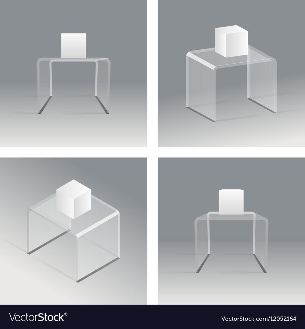 Glass rack podium shelf set 3d isometric realistic vector image