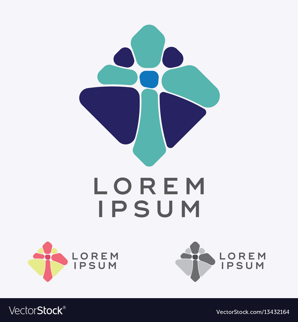 Mosaic cross sign design element vector image