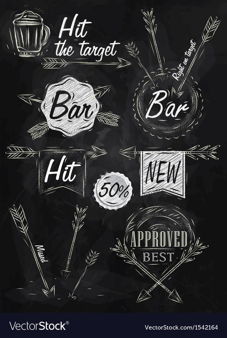 Set emblem of Bar Boom Arrow chalk vector image