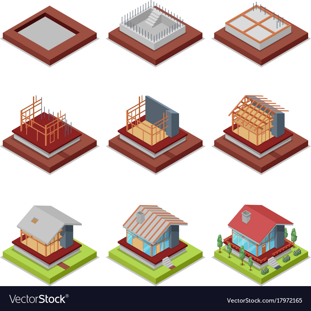 Isometric 3d set construction stages of house vector image for Stages in house construction
