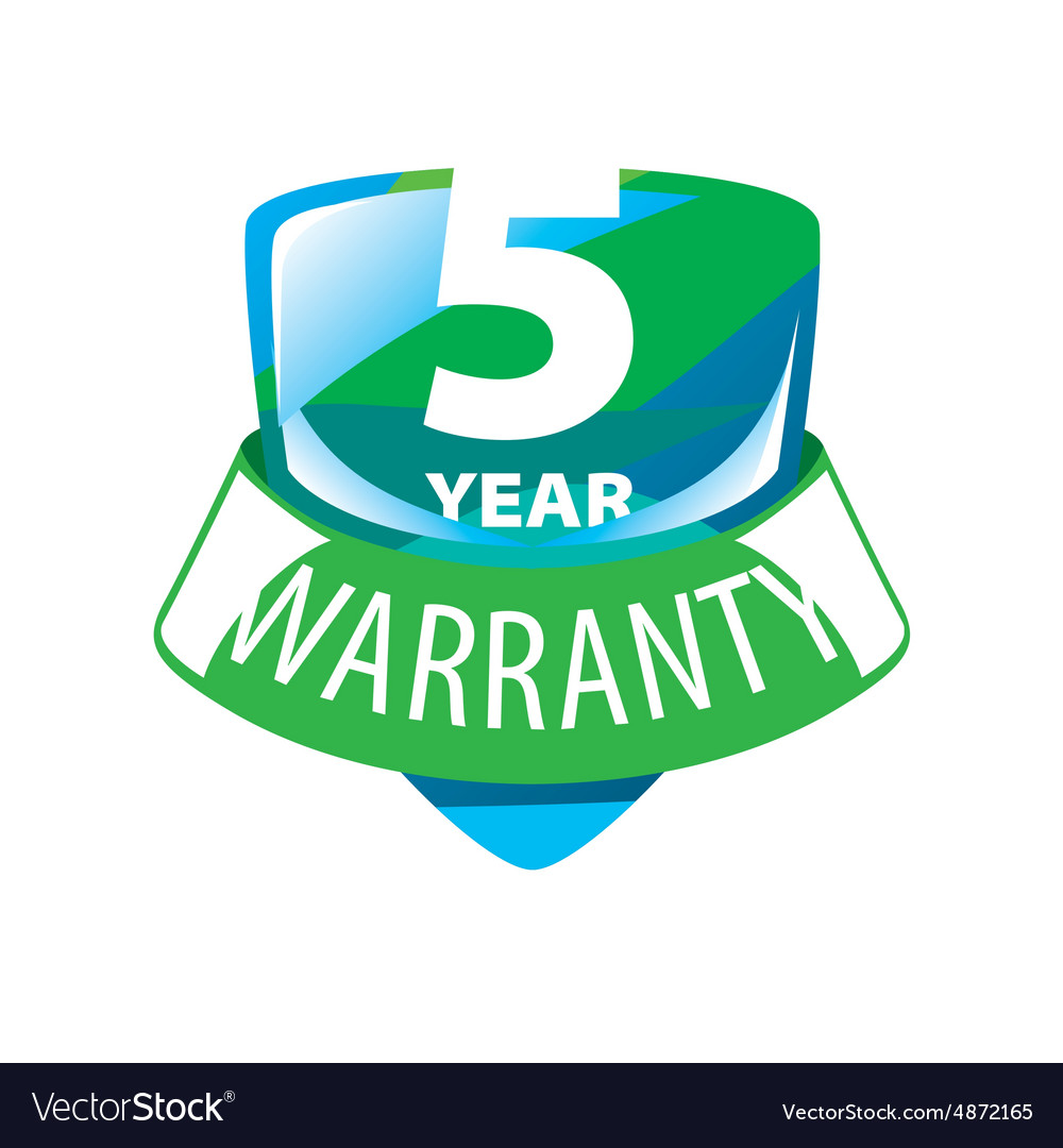 Logo shield 5 year warranty vector image