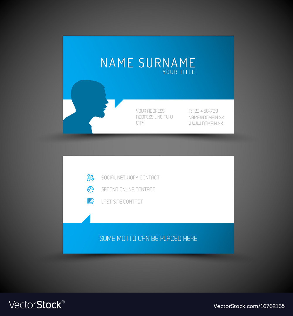Modern Simple Blue Business Card Template With Vector Image - Website business card template