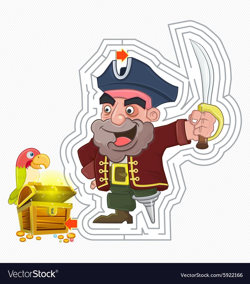 Pirate treasure maze game vector image