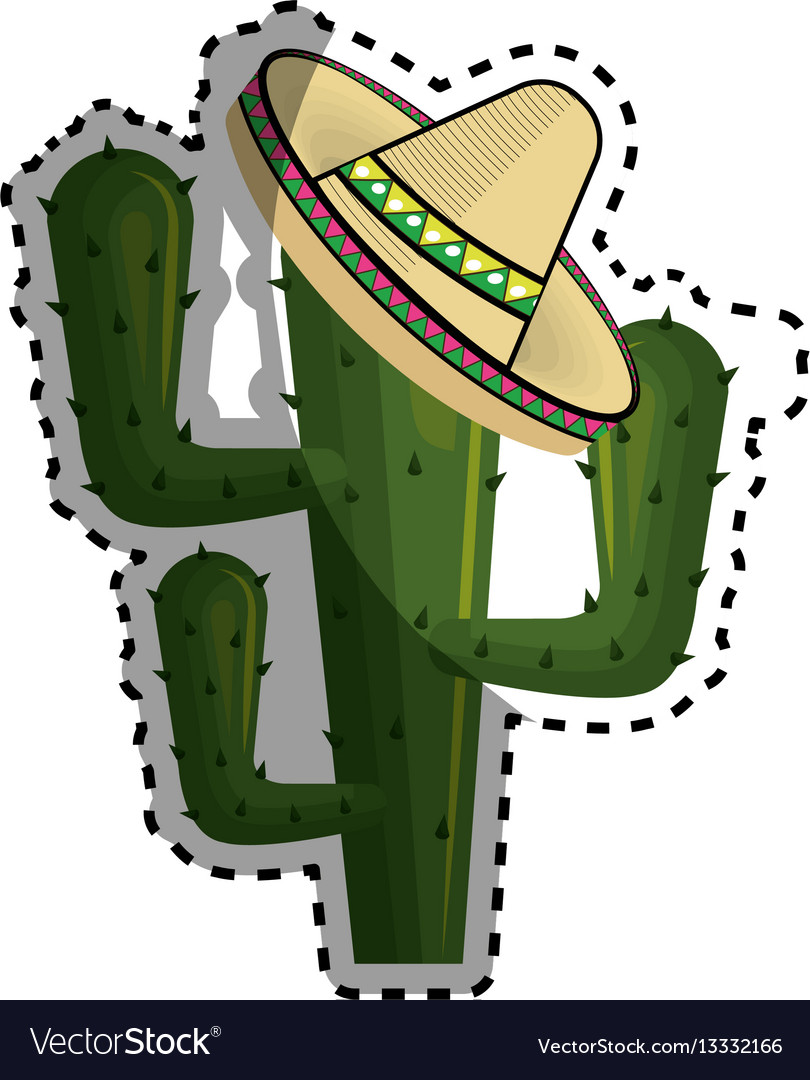 Sticker cactus with mexican hat with thorns vector image