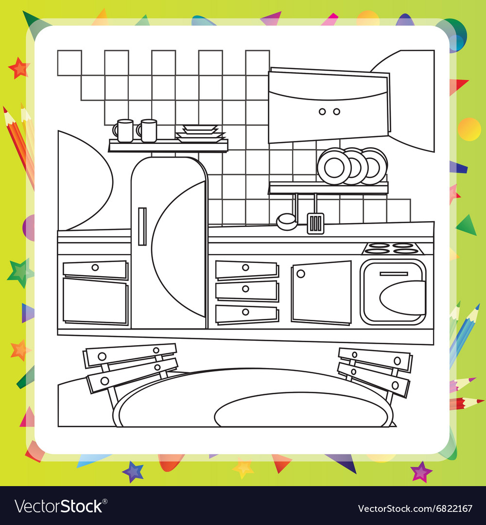 Coloring Book With Kitchen