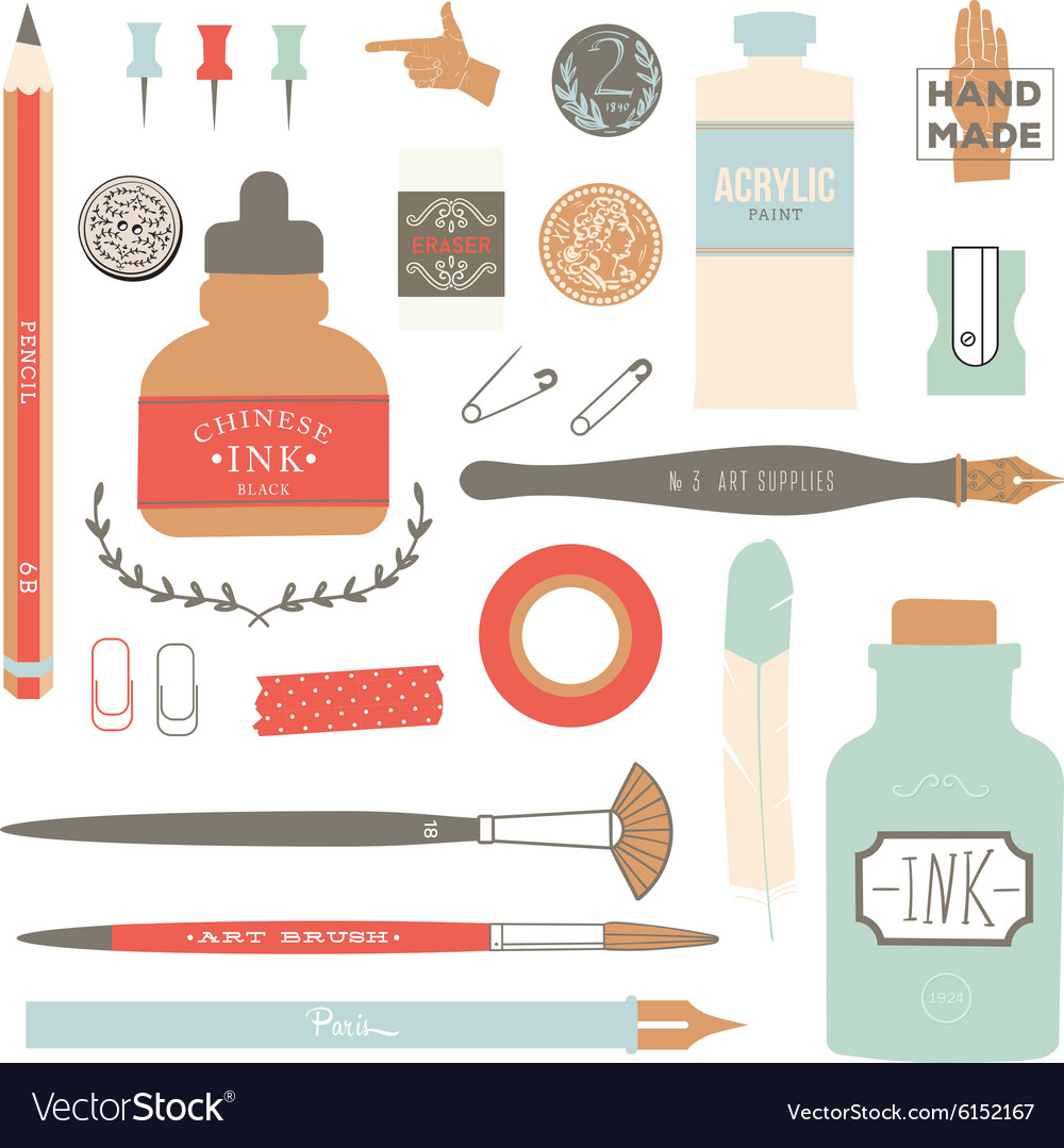 Vintage art tools - pens ink tag stamps vector image