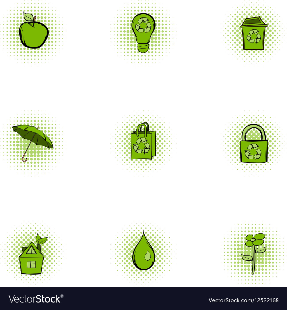 Purity of nature icons set pop-art style vector image