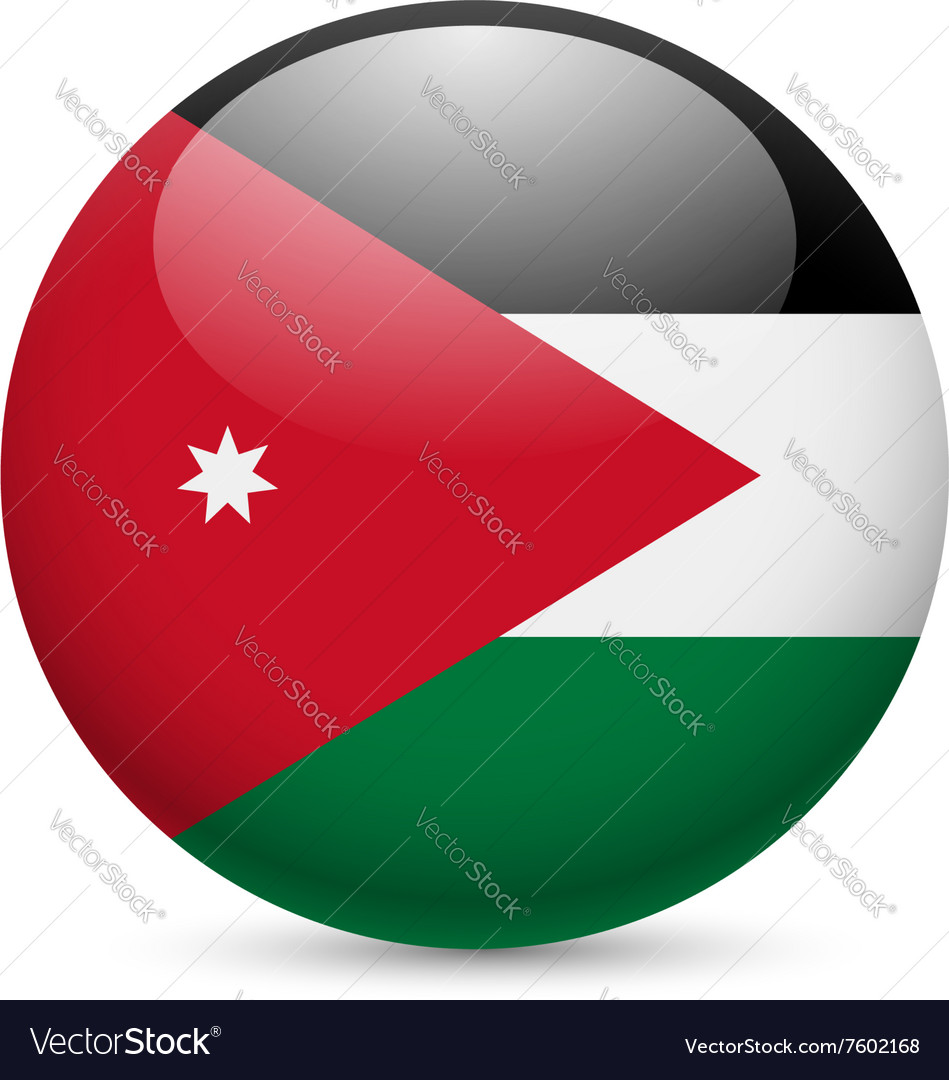 Round glossy icon of jordan vector image