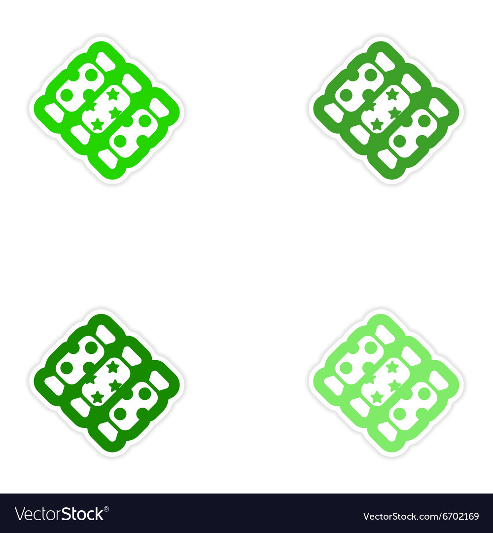 Set of paper stickers on white background