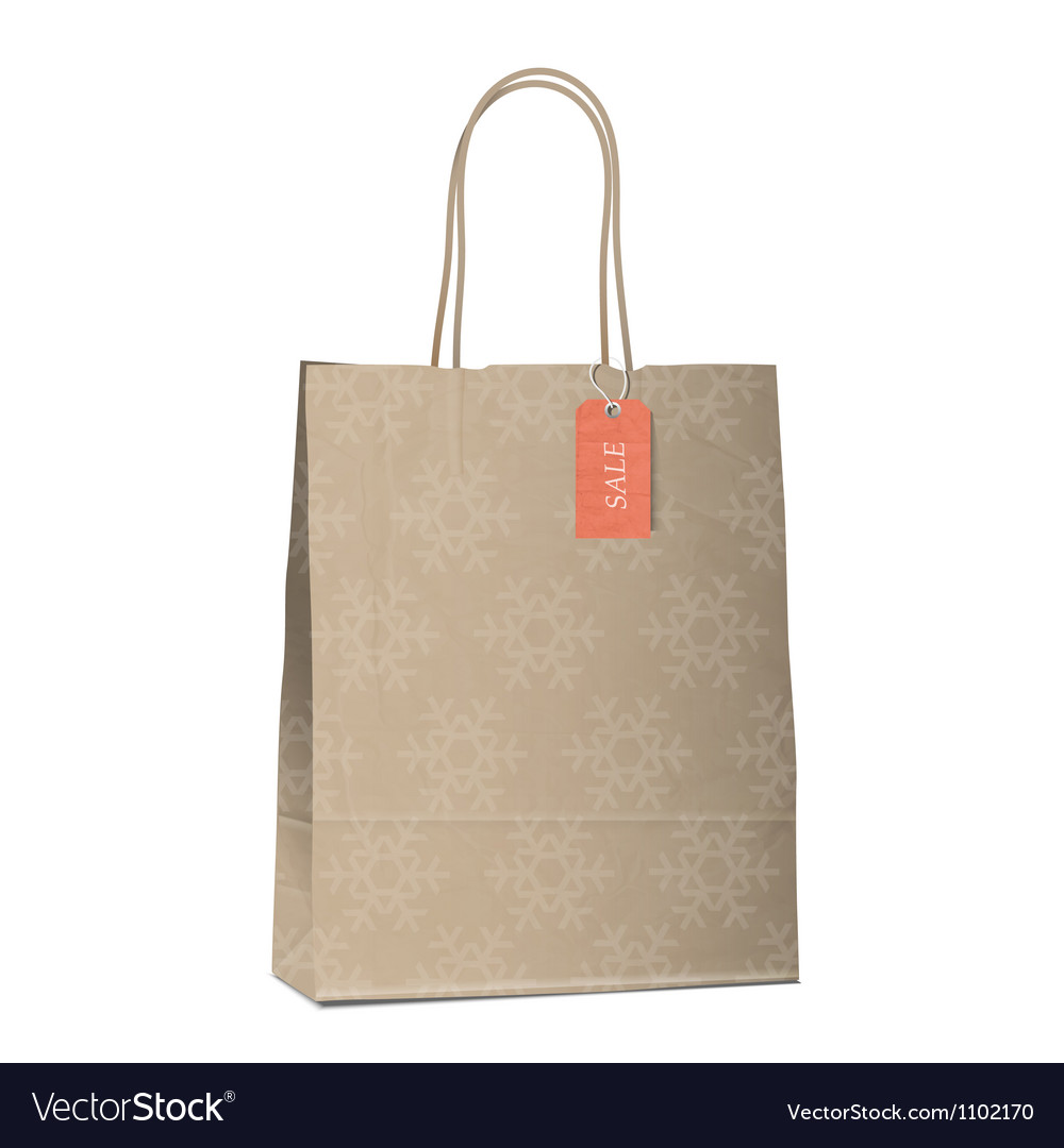 Winter sales shopping bag with snowflakes vector image