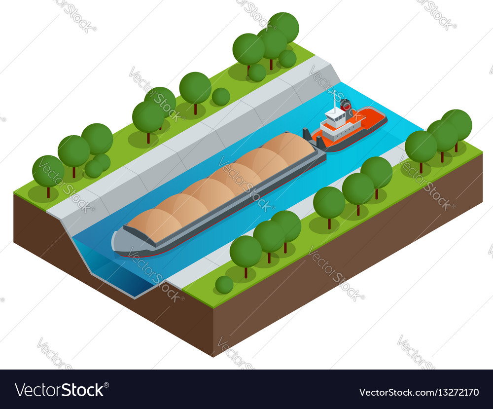 Isometric barge on a river very large ship vector image