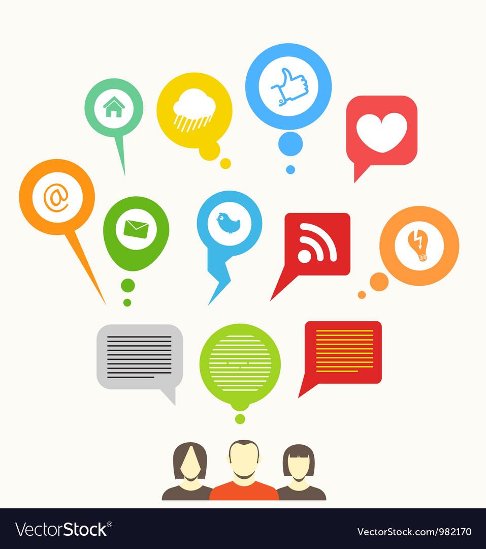 Social media network abstract speech bubbles vector image