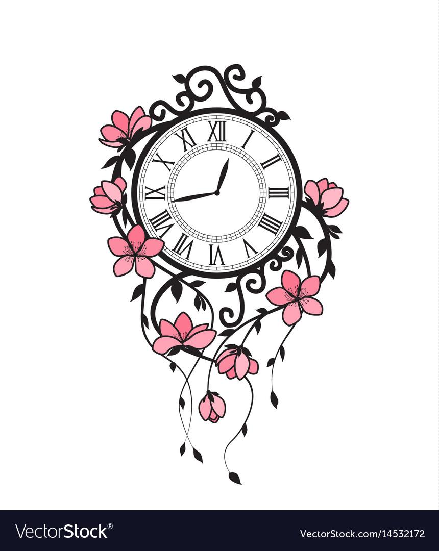 Sakura flowers and clock vector image