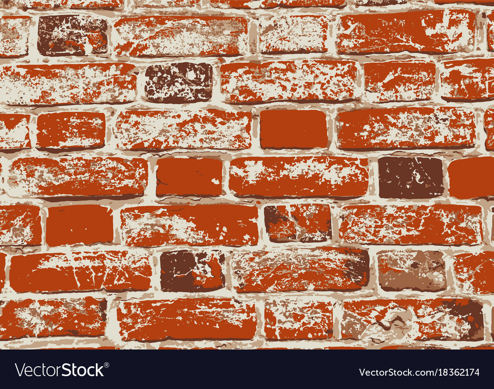 Red old grunge brick wall vector image