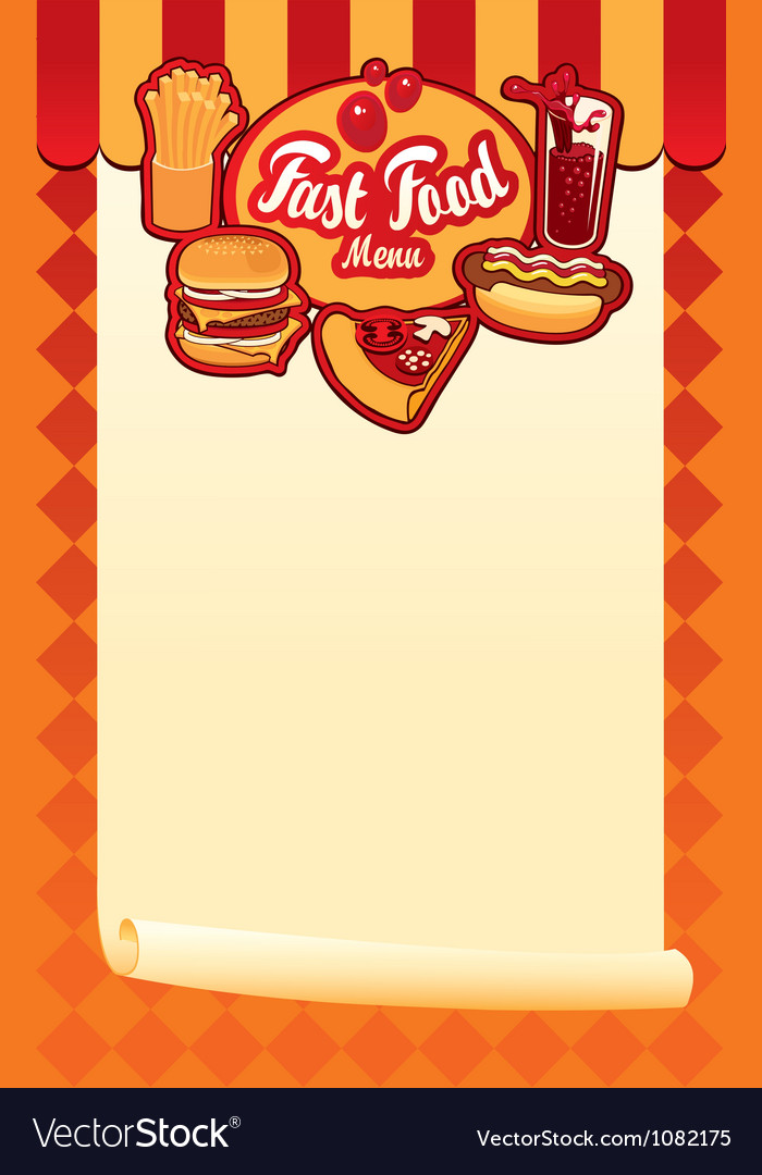 Menu for fast food vector image