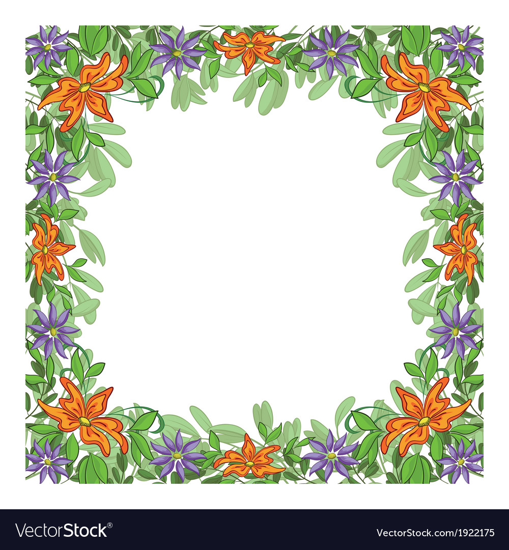 Background frame of flowers vector image