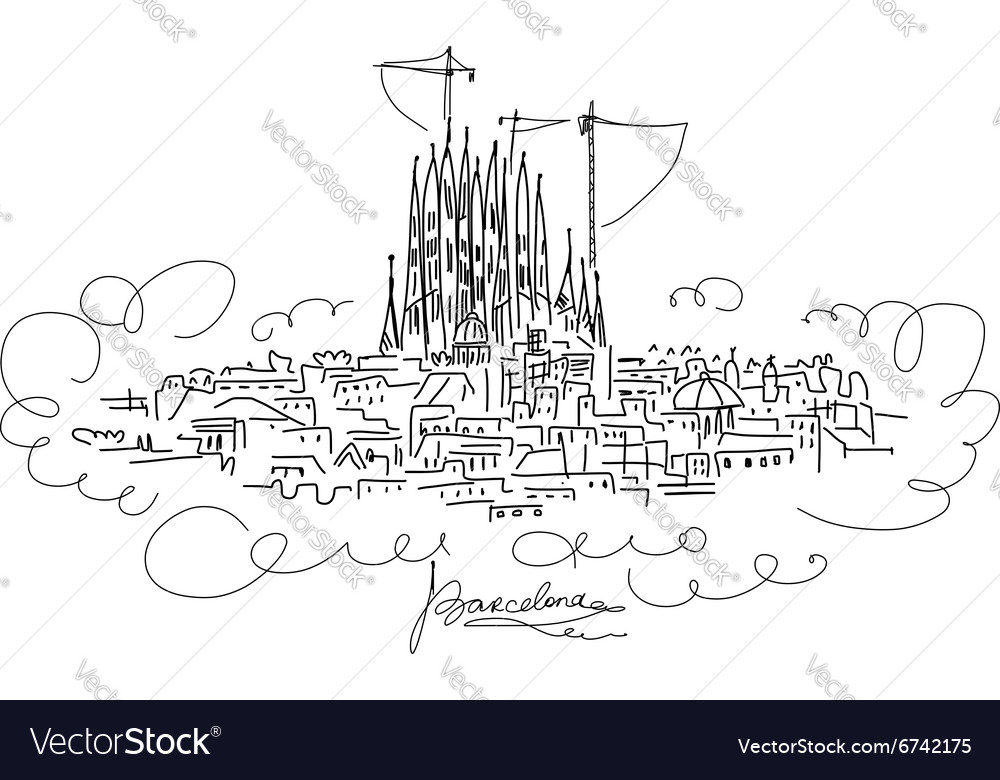 Barcelona cityscape sketch for your design vector image