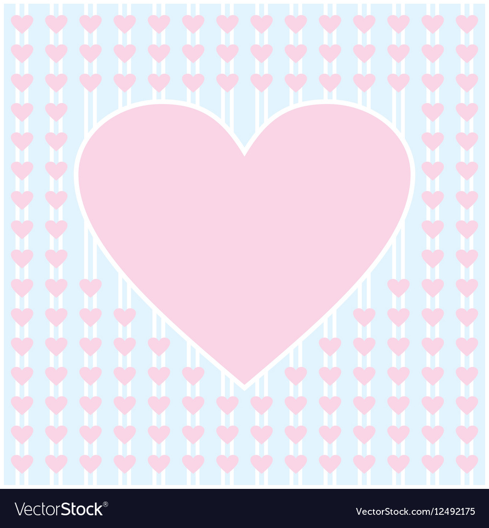 Frame border shaped from pink heart on light blue vector image