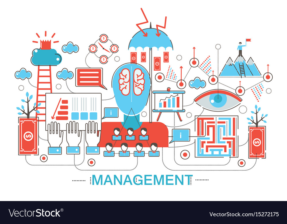 Modern flat thin line design global managment vector image