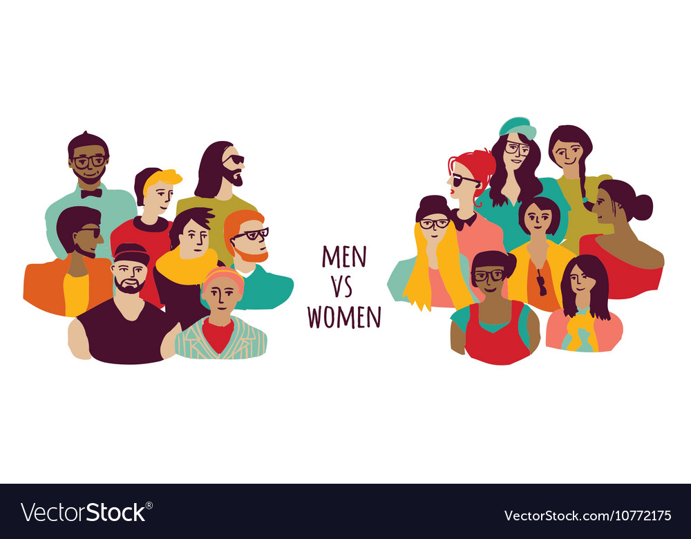 Opposition men and women groups isolate on white vector image