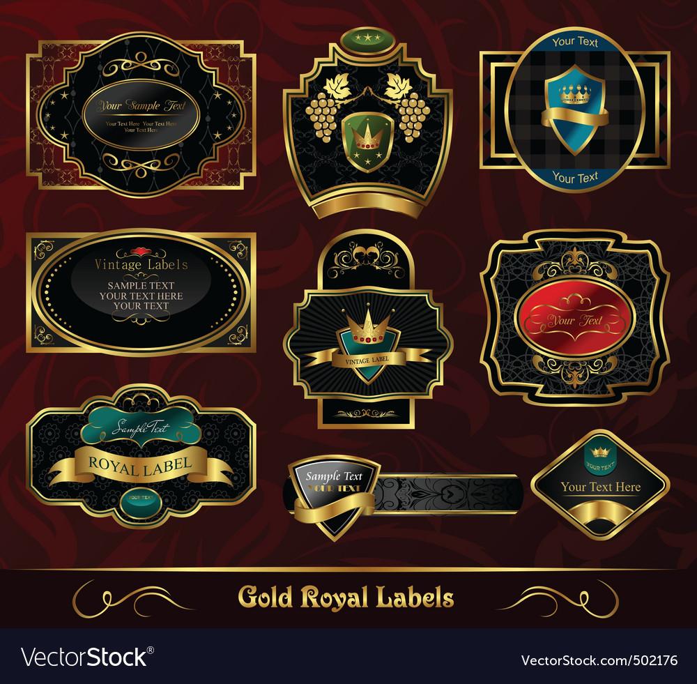 Set colorful gold framed labels vector image