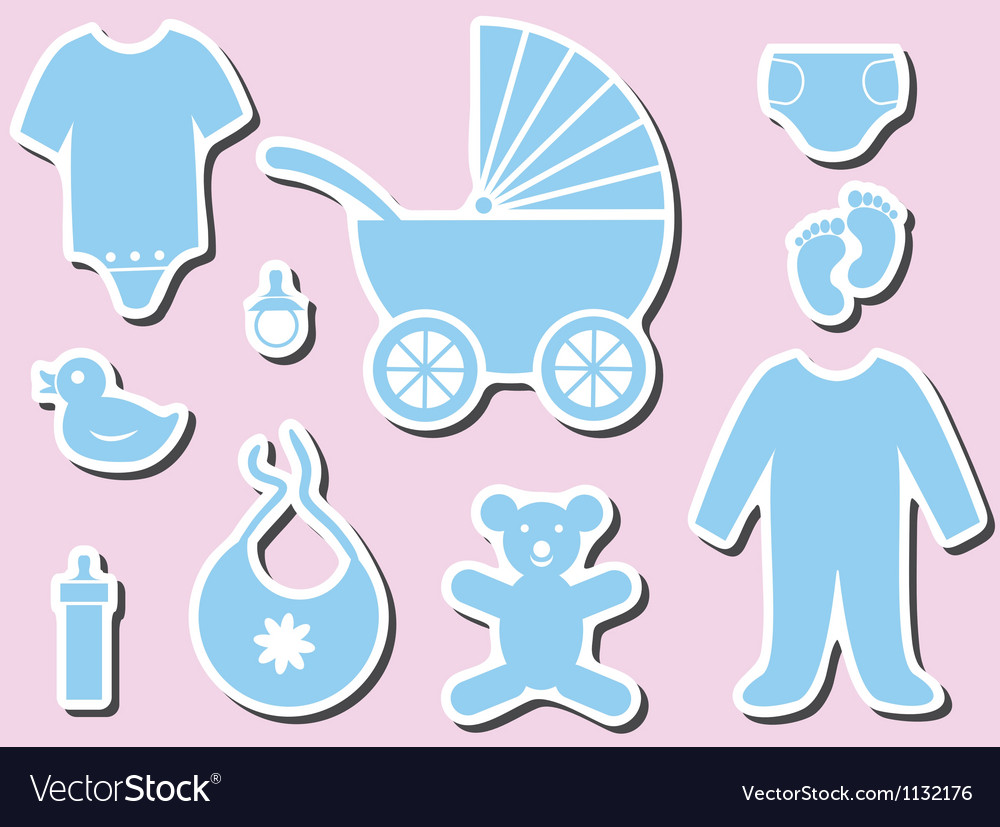 Baby shower icons vector image