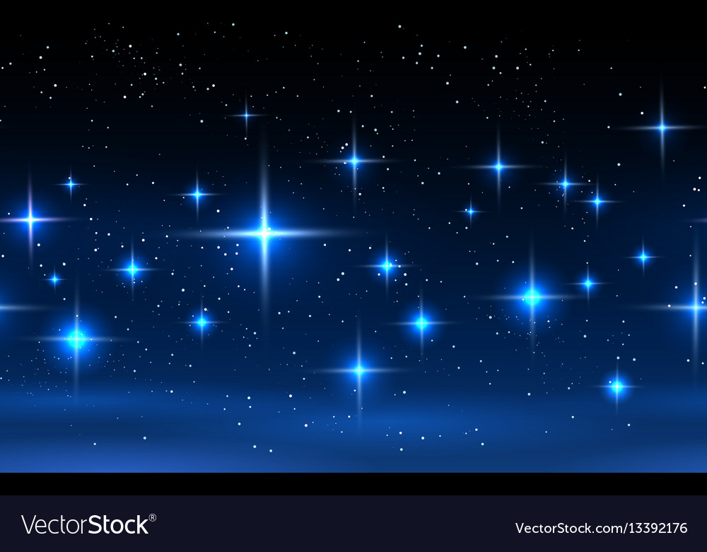 Night sky horizontal seamless pattern vector image