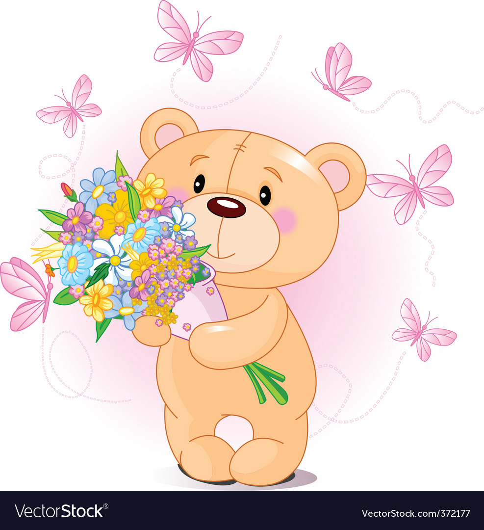 Pink teddy bear with flowers Royalty Free Vector Image
