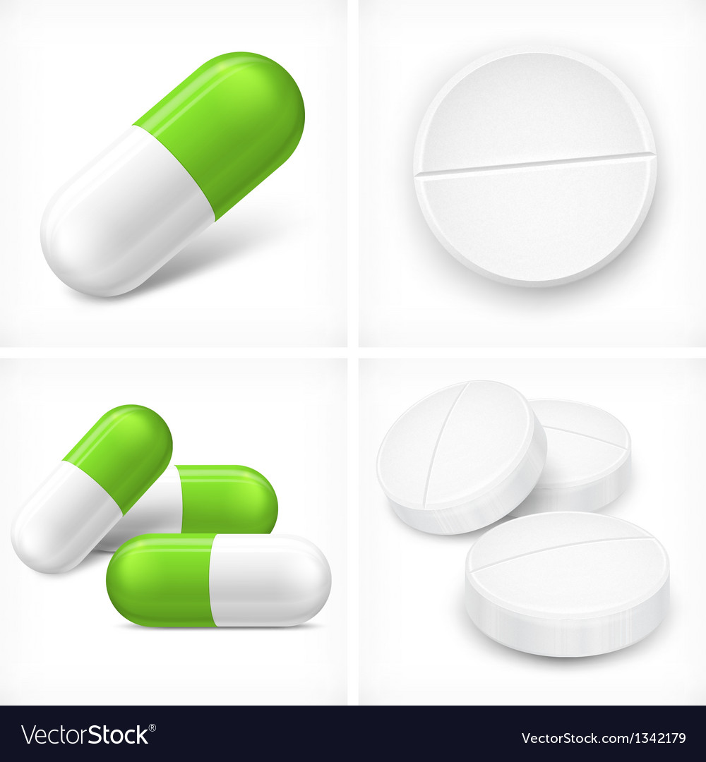 Different pills on white vector image