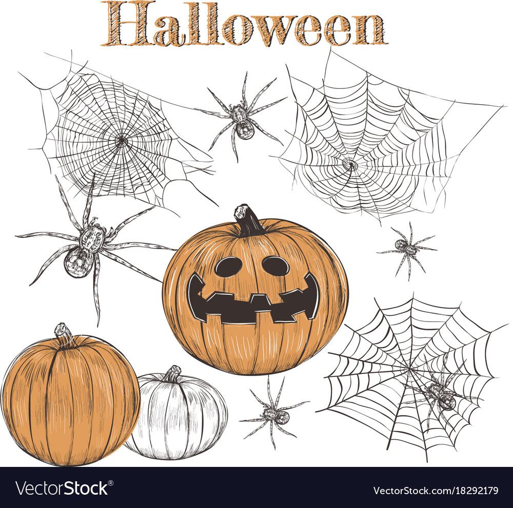 Halloween set pumpkin sketch vector image