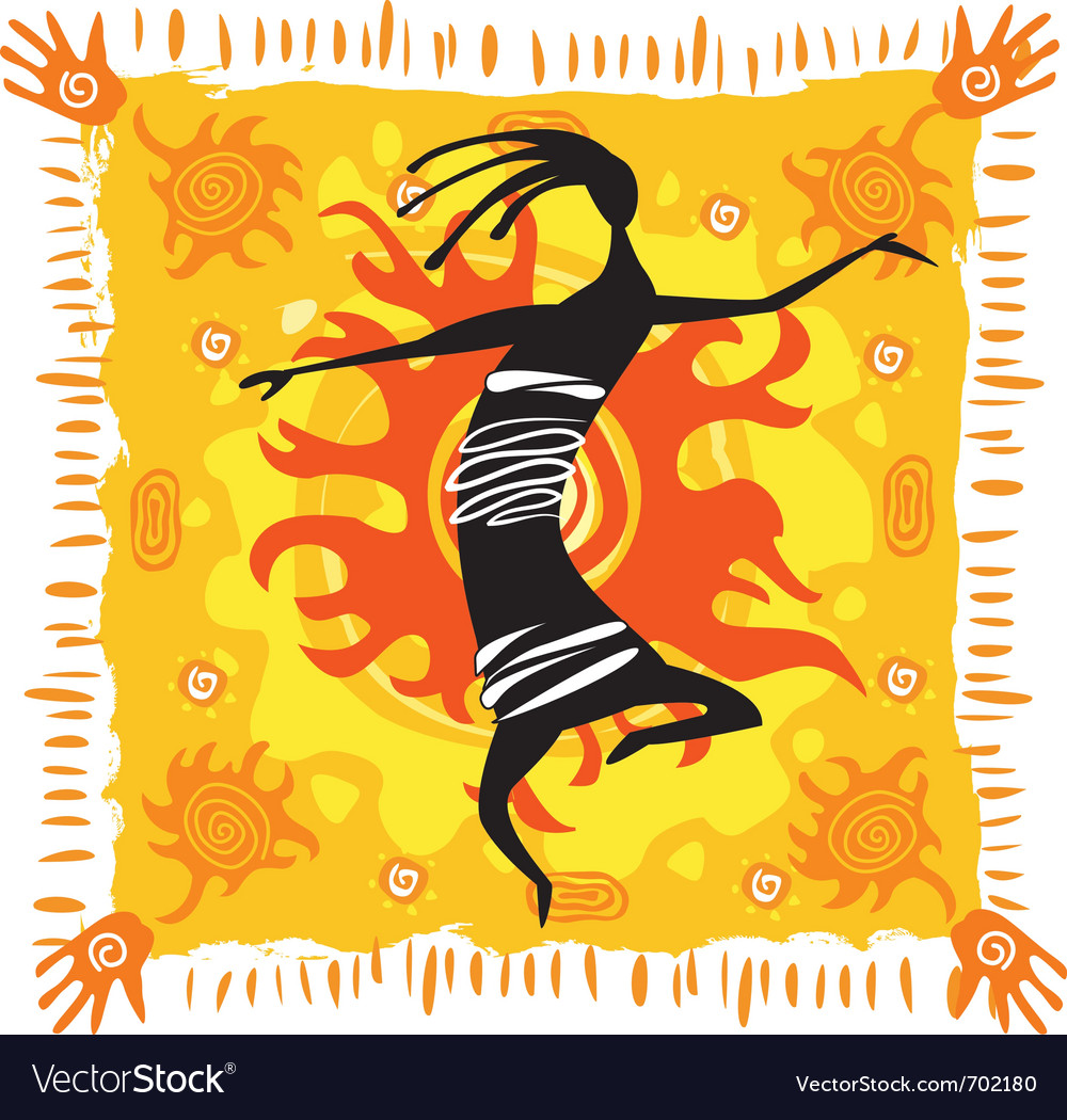 Dancing figure on an orange background vector image