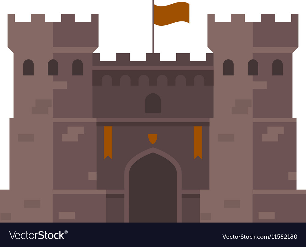 Medieval stronghold - old fortress towers vector image