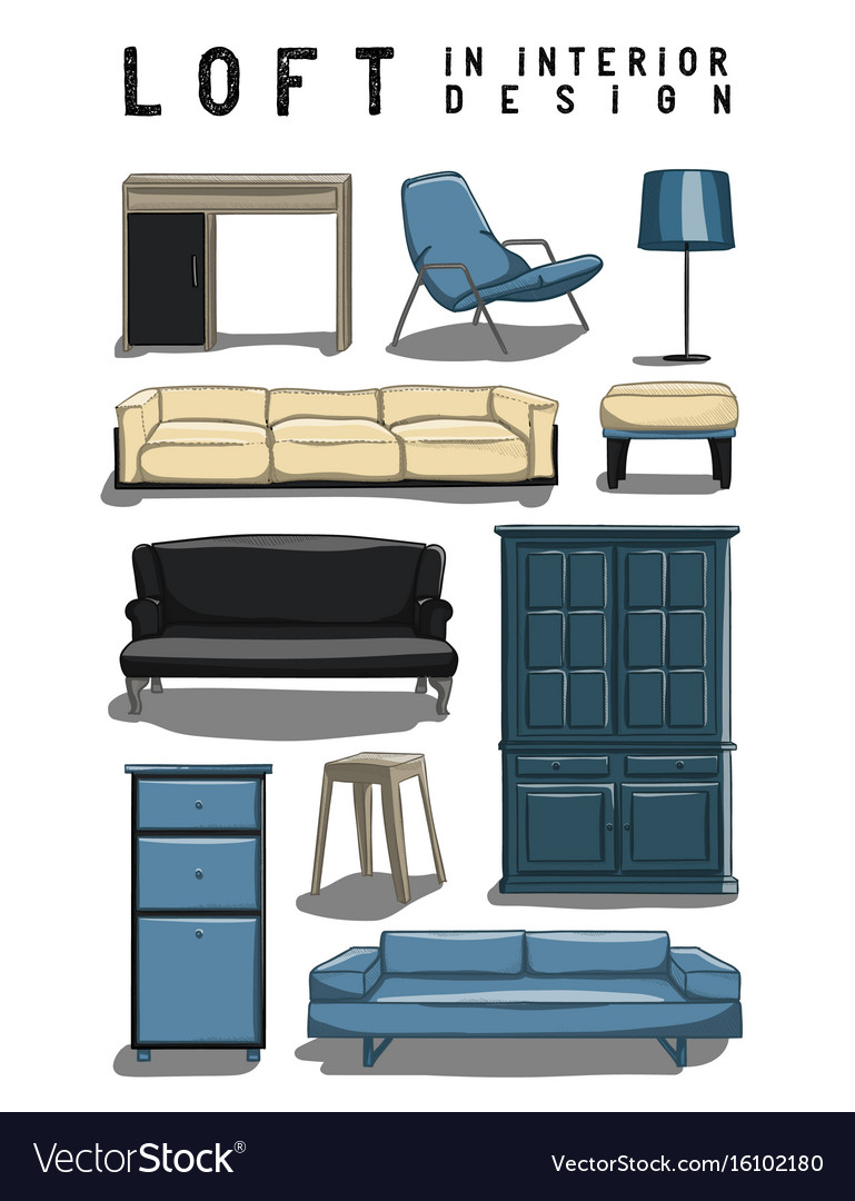 Set of 10 interior items in color loft in vector image