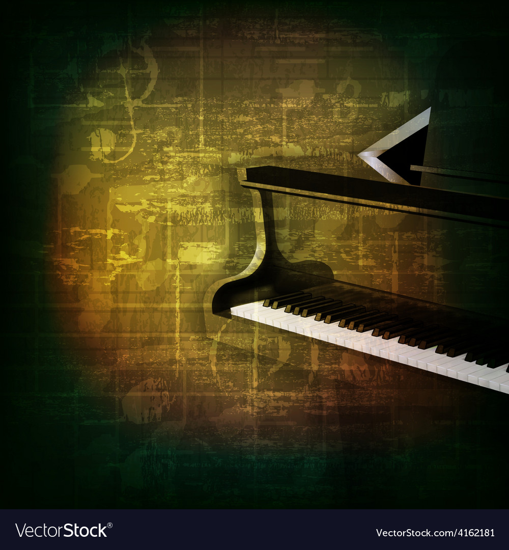Abstract green grunge music background with grand vector image