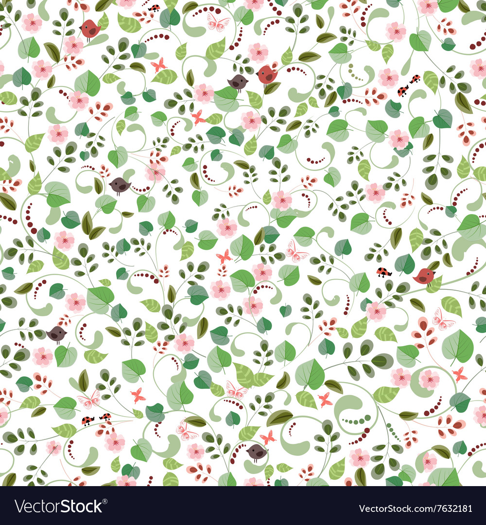 Cute nature seamless texture for your design vector image
