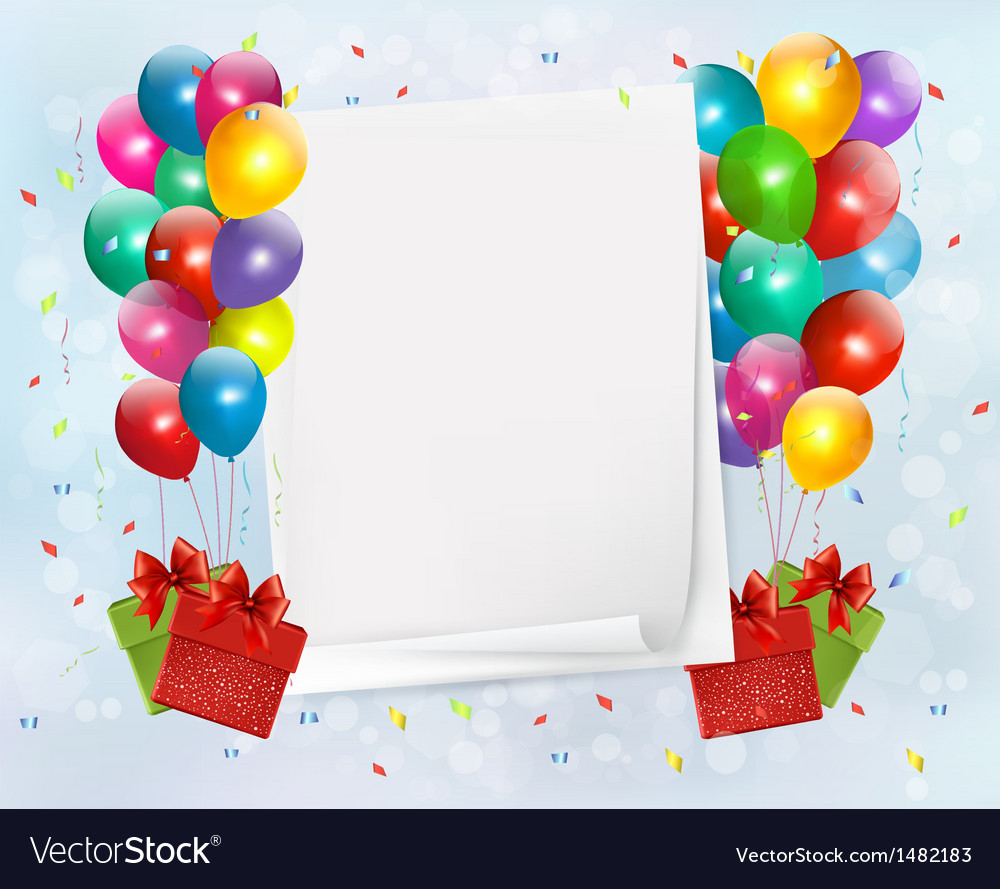 Holiday background with colorful balloons and gift vector image