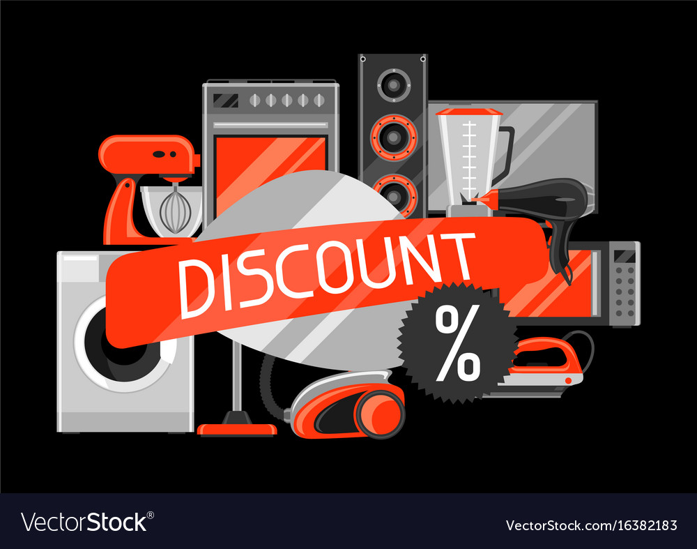 Appliances Discount Discount Background With Home Appliances Vector Image